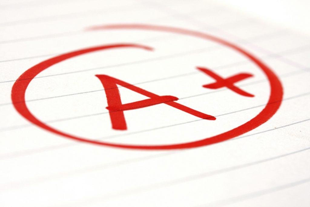 A student receives an A+ for the next quarter.