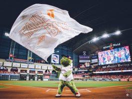Orbit flying a Take It Back postseason flag. Photo by Houston Astros Twitter