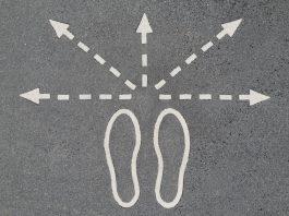 Photo illustration of footsteps leading multiple directions. Photo manipulation lifehack.org