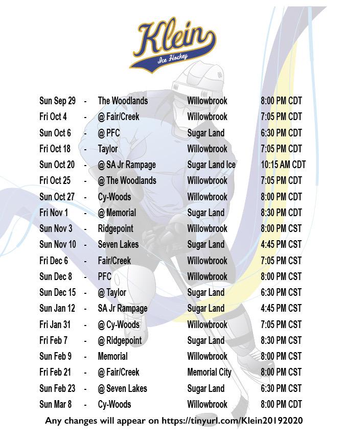 Klein Hockey Schedule. Photo credit: Travis Bell