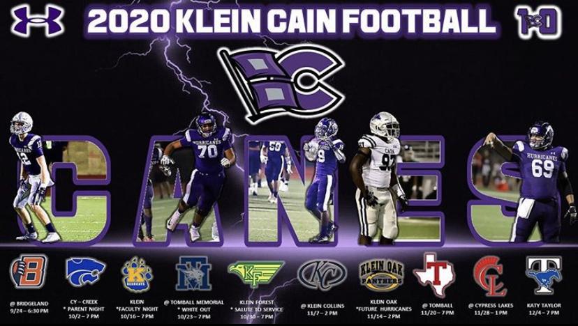 Klein Cain varsity 2020 football schedule. Image from Klein Cain Football Instagram