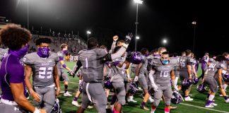 Varsity Klein Cain football team celebrating a win against Klein high school. Photo by: Charlotte Gottfried